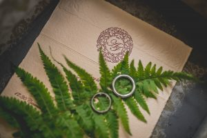 2 wedding bands places on a fern leaf ready for a natural meaningful outdoor wedding ceremony